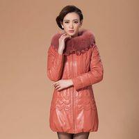 Genuine leather clothing female 2014 genuine sheepskin leather down coat medium-long fox fur outerwear plus size