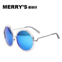 2015 MERRY'S New Fashion Sunglasses women Alloy Round Hollow Frame Good Quality Sun Glasses Brand Designer Big Frame Sunglasses
