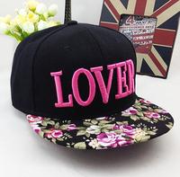 2015 Sale New Fashion Harajuku Snapbacks Sweet Lover Letters Flat Brim Cap Hip-hop Hats Broken Flower Pattern Baseball Caps for
