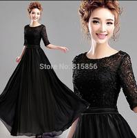 2015 Black lace short-sleeve long design dinner banquet evening dress formal dress  A7292#