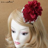 Princess lolita hair accessories Vintage burgundy yarn flower Little hat brides lace hair clip deserve cosplay clip FJ - 136