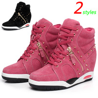 Pink ASH Wedge Sneakers,Double Side Zipper,Height Increasing 6cm,Comfortable Genuine Leather 2 styles,Size 35-39,Women's Shoes