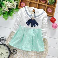 New 2015 Children Spring Clothes Girls T-shirts Long Sleeve Polka Dot Baby Girls Tees Children Casual T-shirts Kids Top Wear