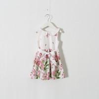 New 2015 Boutique girls floral print dress baby girls cotton vest dress 5pcs/lot