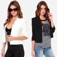 2015 brand solid color Simple unique notch shoulder pad slim OL short design none breasted women blazers jacket coat J1084