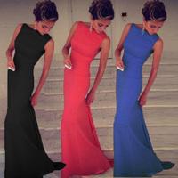 New 2015 Sexy Dresses Women Ladies Fashion Elegant Slim Sleeveless Patry Long Dress 3 Colors