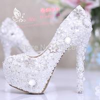 Luxurious Diamond Flowers White Pearl Closed Toe Stiletto Heel Pumps 12CM Hidden Platform Bride Wedding Dress Shoes Size 34-39