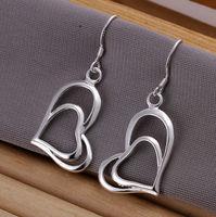 Double heart 925 sterling silver female fashion  big earings Jewelry crystal Drop earrings trendy women earrings Free shipping