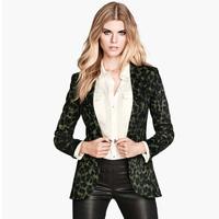 Hot sale ! 2015 Xuanlin Stretch slim single button leopard women blazers notched neck fashion ladies leisure suit J1087