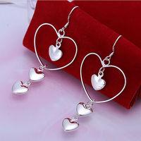 Heart by heart 925 sterling silver Fashion big earings Jewelry crystal Drop earrings trendy women earrings Free shipping