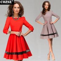 2015 New European Style Fashion Women Dresses Solid O-Neck Half Women Work Clothing Free Shipping y303