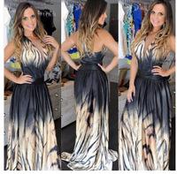 Vestidos Real Polyester Cotton Broadcloth Femininos 2015 New Fashion Women Tiger Print Long Party Dress Summer Maxi Dresses C302