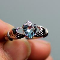 Irish Claddagh Lady's 925 Silver Filled Blue Aquamarine Crystal CZ  Stone Wedding Ring