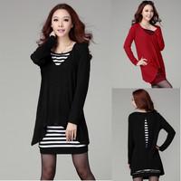 Femininos Vestidos 2015 Autumn Winter Women Fashion Dress Tops Long Sleeve Casual Dress 2 Pieces Black/Red Plus Size XL 2XL 3XL