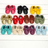Infant Toddler Boy Girls Soft Soled Leather Fringe Moccasins Bowknot Shoes 3-24 Months