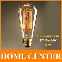 ST64 Antique Retro Vintage E27 40W 60W  220V Edison Light Bulb Incandescent Light Squirrel-cage Led Filament Bulb