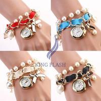 Women Lady Casual Watches Beads Strap Bow Hanging Chain Wrist Watch female Dress Wristwatch
