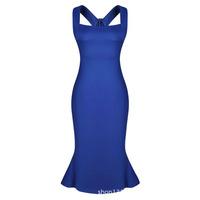 2015 Spring summer under new chief fashion sexy long slim dresses women's flounces slim Sapphire sleeveless dress