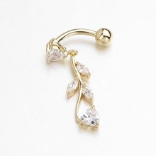 Latest Design Leaves Gold Plated Belly Button Sexy Women Navel Ring Dangle leaf Body Jewelry Piercing