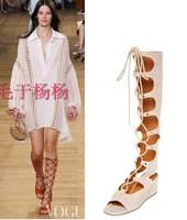 2015 New Design Women Fashion Lace-up Suede Leather Knee High Gladiator Boots Cut-out Peep Toe Boots Summer Sandals Shoes