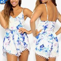 Rompers Womens Jumpsuit Macacao Feminino 2015 Women Print Jumpsuit Strap Bodysuit Plus Size Playsuit Ovreralls Cheap Promotion!!
