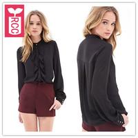Super fashion Newest 2015 Business Chiffon Bust  falbala peplum blouse womens Office tops tees,shirts