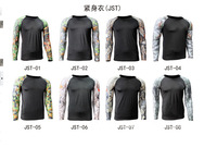 JST tight-fitting long-sleeved camouflage Combat T-Shirt Fitness Workout Bodybuilding mens DRI-FIT traning clothes sportwear