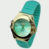 10pcs lot women watch 4 brilliants fashion Bracelet Silicone wristwatch Crystal rhinestone Golden woman Romand Wholesale