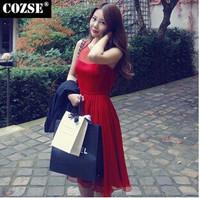 2015 New Summer  Women Dresses Korean Style Slim Chiffon Plus Size Women Clothing Free Shipping y305