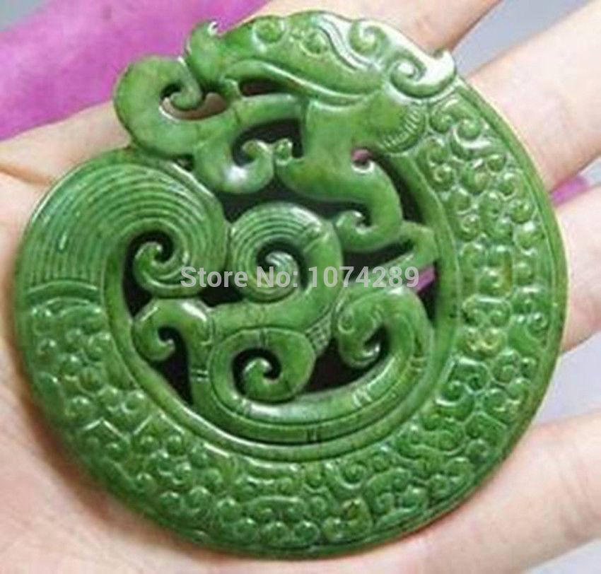 Beautiful old green hand carved jade dragon pendant (free shipping)(China (Mainland))