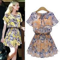 Chiffon Dress Women's Summer Flower Printing Pleated Vintage Dress 2015 Women New Clothing Yellow Brown
