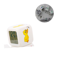 Free shipping Color Changing Glowing Light Up Digital LCD Alarm Clock Night Light with Free AC adapter