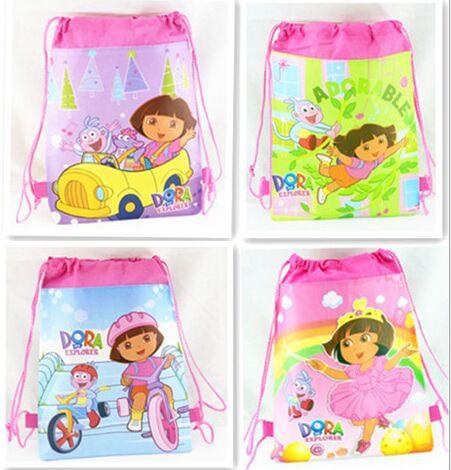 Novas Dora as crianças Explorer mochilas escolares Mochila Infantil dos desenhos animados cordão Mochila crianças impressão Mochila caçoa o presente do partido 12 pcs(China (Mainland))