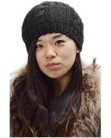 Fashion 8 Colors Warm Winter Women Beret Braided Baggy Beanie Hat Ski Cap