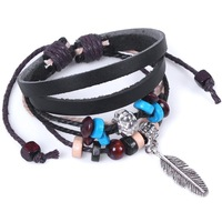 Retail-1pc/lot Indian style feather wooden bead bracelet fashion jewelry