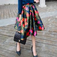 free shipping 2015 spring new Hepburn vintage flower print high waist pleated puff skirt