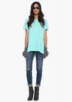O-Neck Women Tops Colourful Crop Top Casual T Shirt Women Hem Irrgular 2015 Fahsion T Shirt Women Summer Clothing Free Shipping