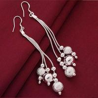 New Women Men Earrings Jewelry 925 Sterling Silver Drop Earrings Fashion Women Three Wire Beads Earrings Jewelry Wholesale