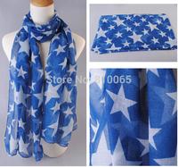 Women Cotton Voile Scarf Star Pattern Long Silk Scarf Lady Beach Shawl Wrap Towel Scarf 5Colors 180*50cm 10pcs/lot Free Shipping