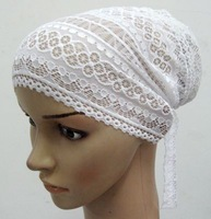 ML0119 muslim tie back lace underscarf/ inner caps free shipping,fast delivery,assorted colors
