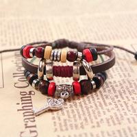 Wholesale-12pcs/lot European and American style fashion leather key bracelet couples jewelry