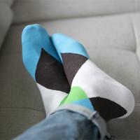 Men and women casual sports socks Large Lingge the shape cotton socks 1 set = 5 pairs = 10 piece