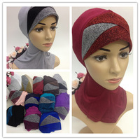 SYF117 new designs 2015 glitter ninja muslim underscarf cover neck free shipping,fast delivery,assorted colors