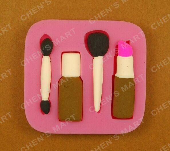 Free Shipping Valentine 1 pc Fashion Woman Makeup Cosmetic Lipstick Silicone Mould Cake Fondant Topper Decoration Mold Chocolate(China (Mainland))