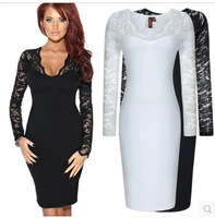 Vestido 2015 Hot-selling Women's DressFashion Sexy Lace Patchwork Long-sleeve Basic Slim Female Dresses