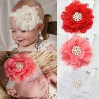 2015 New Fashion Pearl Jewel Rhinestone Accessories Baby Headband Lace Headbands Flower Headband Hairband Hair Accessories 1582