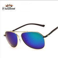 Men's Polarized Sunglasses Aviator Driving Glasses Mirror Oculos 2015 New Sports Cycling Eyewear Gold w / blue green lens sg268
