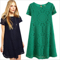 Plus Size 2015 Women Summer Dress Girl Vestidos New Short Sleeve Ladies Dress O-Neck Lace Dresses S-XXXL Free Shipping YF9649