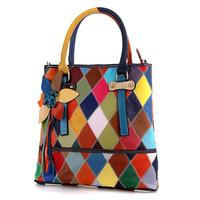 2015 Decorative colorful women's genuine leather handbag brand designer female shoulder bag casual handbags party bag