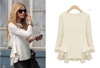 New 2015 Fashion European and American women's Long sleeve shirt T-shirt  tops blouses summer chiffon shirt